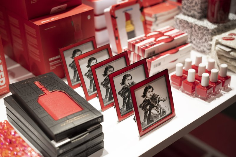 Picture frames and nail polish are some of the items displayed at the opening day of Story, Wednesday, April 10, 2019, at Macy's in New York. (AP Photo/Mark Lennihan)