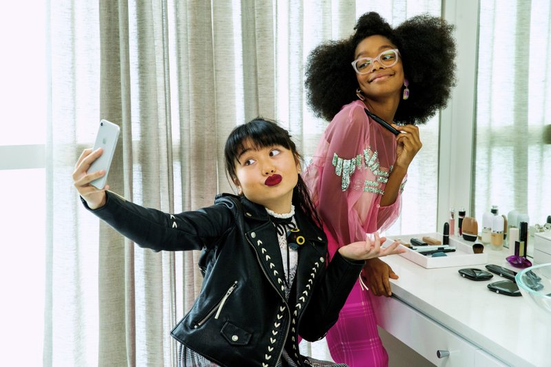 This image released by Universal Pictures shows Thalia Tran, left, and Marsai Martin in a scene from