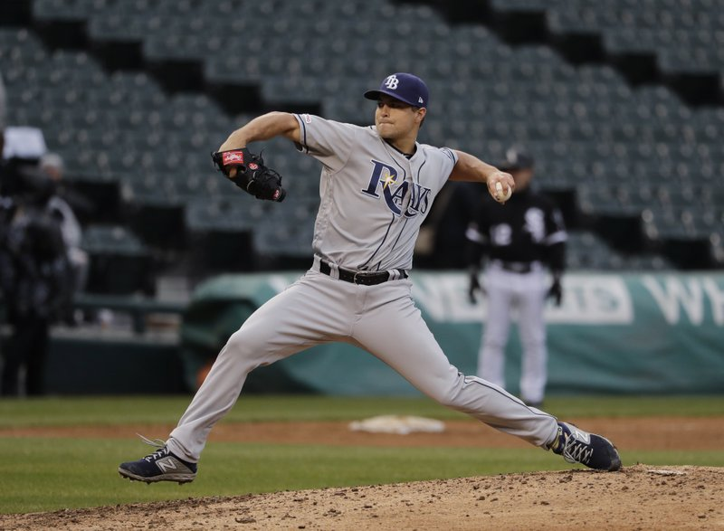Tampa Bay Rays relief pitcher Jalen Beeks throws against the Chicago White Sox during the ninth inning of a baseball game in Chicago, Wednesday, April 10, 2019. (AP Photo/Nam Y. Huh)