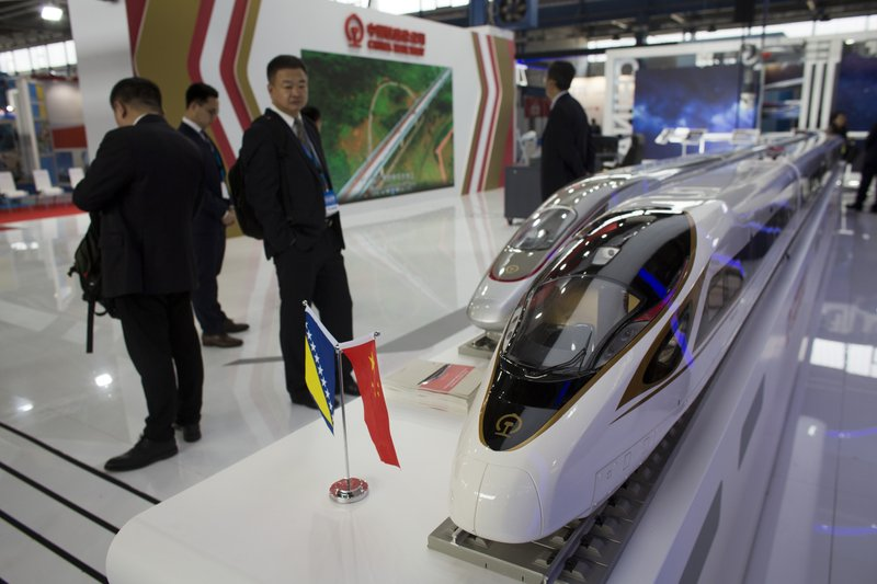 In this photo taken Tuesday, April 9, 2019, models of Chinese high speed trains are displayed at the trade fair in Mostar, Bosnia. (AP Photo/Darko Bandic)