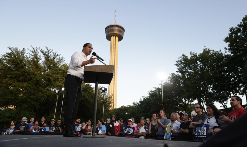 Julian Castro, a 2020 Democratic presidential candidate, speaks to supporters during a rally in San Antonio, Wednesday, April 10, 2019. (AP Photo/Eric Gay)