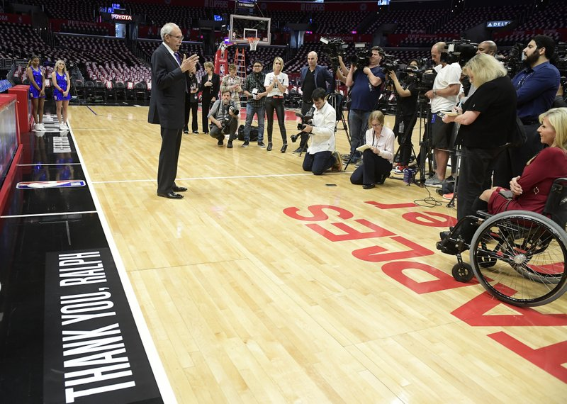 Los Angeles Clippers broadcaster Ralph Lawler speaks during a news conference prior to an NBA basketball game between the Clippers and and the Utah Jazz on Wednesday, April 10, 2019, in Los Angeles. (AP Photo/Mark J. Terrill)