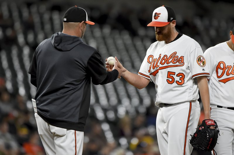 Baltimore Orioles starting pitcher Dan Straily (53) is pulled by manager Brandon Hyde (18) during the fourth inning of the team's baseball game against the Oakland Athletics, Wednesday, April 10, 2019, in Baltimore. (AP Photo/Will Newton)