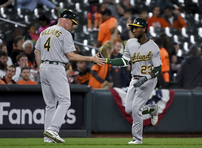 Oakland Athletics' Jurickson Profar (23) celebrates with third base coach Matt Williams (4) after hitting a two-run home run during the fourth inning of the team's baseball game against the Baltimore Orioles, Wednesday, April 10, 2019, in Baltimore. (AP Photo/Will Newton)