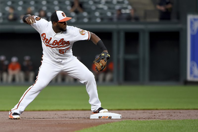 Baltimore Orioles second baseman Hanser Alberto forces out Oakland Athletics' Robbie Grossman at second, and throws to first for the double play on Marcus Semien during the first inning of a baseball game Wednesday, April 10, 2019, in Baltimore. (AP Photo/Will Newton)