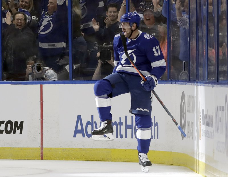 Tampa Bay Lightning left wing Alex Killorn (17) celebrates his goal against the Columbus Blue Jackets during the first period of Game 1 of an NHL Eastern Conference first-round hockey playoff series Wednesday, April 10, 2019, in Tampa, Fla. (AP Photo/Chris O'Meara)