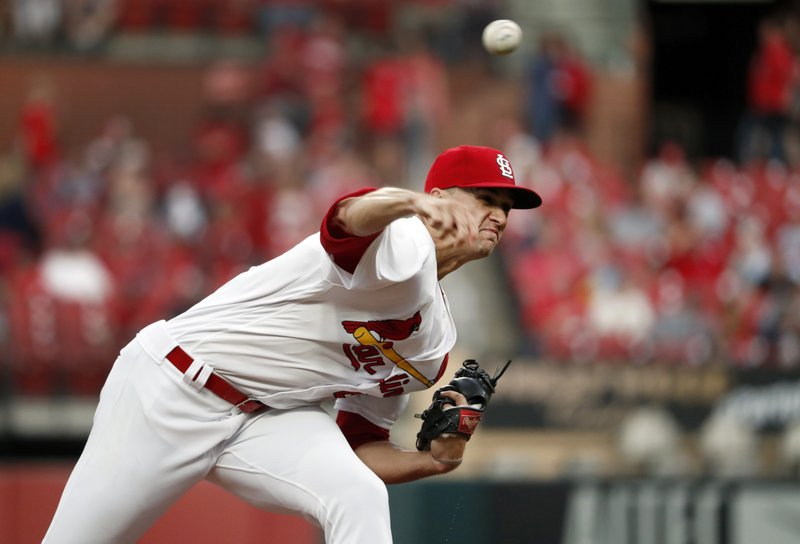 St. Louis Cardinals starting pitcher Jack Flaherty throws during the first inning of the team's baseball game against the Los Angeles Dodgers on Wednesday, April 10, 2019, in St. (AP Photo/Jeff Roberson)