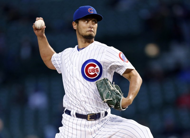 Chicago Cubs starting pitcher Yu Darvish throws to a Pittsburgh Pirates batter during the first inning of a baseball game in Chicago, Wednesday, April 10, 2019. (AP Photo/Nuccio DiNuzzo)
