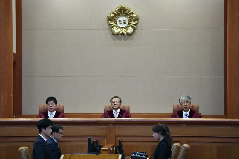 South Korea's Constitutional Court chief judge Yoo Nam-seok, center, and other judges sit for the ruling on decriminalization of abortion at the court in Seoul Thursday, April 11, 2019. (Jung Yeon-je /Pool Photo via AP)