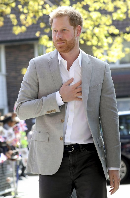 Britain's Prince Harry arrives for the official opening of 'Future', a new Youth Zone in London, Thursday April 11, 2019. (Chris Jackson/PA via AP)