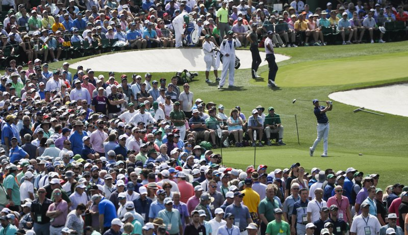 Rory McIlroy, of Northern Ireland, hits from the third tee during the first round for the Masters golf tournament Thursday, April 11, 2019, in Augusta, Ga. (AP Photo/David J. Phillip)