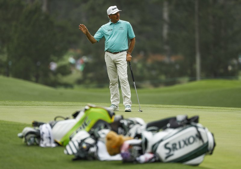 Fred Couples reacts to a missed putt on the third hole during the first round for the Masters golf tournament Thursday, April 11, 2019, in Augusta, Ga. (AP Photo/Matt Slocum)