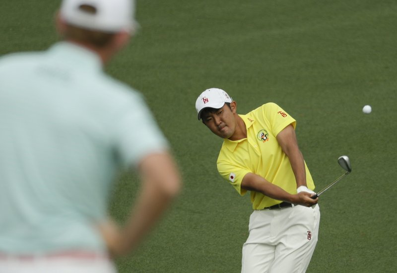 Takumi Kanaya, of Japan, hits to the second hole during the first round for the Masters golf tournament Thursday, April 11, 2019, in Augusta, Ga. (AP Photo/Chris Carlson)