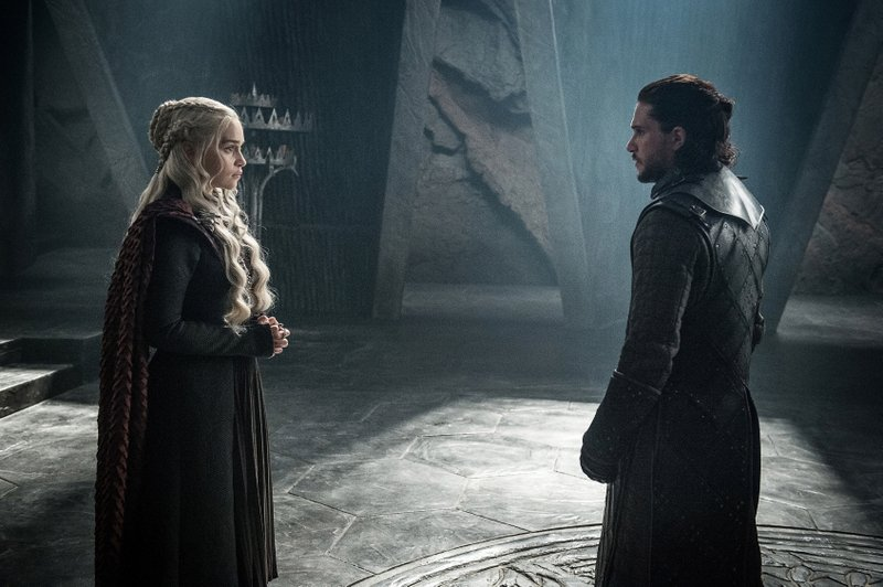 This photo provided by HBO shows Emilia Clarke as Daenerys Targaryen and Kit Harington as Jon Snow in a scene from HBO's