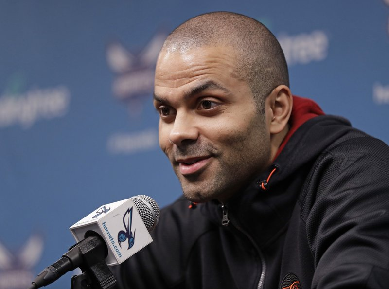 Charlotte Hornets' Tony Parker answers a question during end of season interviews for the NBA basketball team in Charlotte, N. (AP Photo/Chuck Burton)