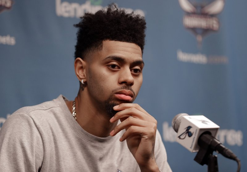 Charlotte Hornets' Jeremy Lamb listens to a question during end of season interviews for the NBA basketball team in Charlotte, N. (AP Photo/Chuck Burton)