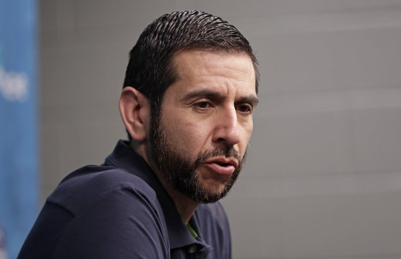 Charlotte Hornets head coach James Borrego answers a question during end of season interviews for the NBA basketball team in Charlotte, N. (AP Photo/Chuck Burton)