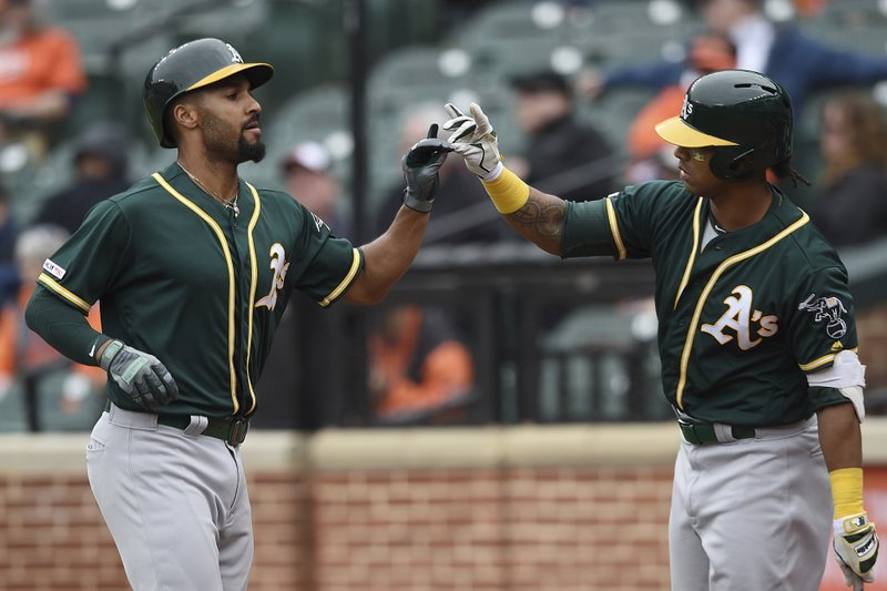 Oakland Athletics Marcus Semien, left is congratulated by Khris Davis after a solo home run against the Baltimore Orioles, in the seventh inning of a baseball game, Thursday, April 11, 2019, in Baltimore. (AP Photo/Gail Burton)