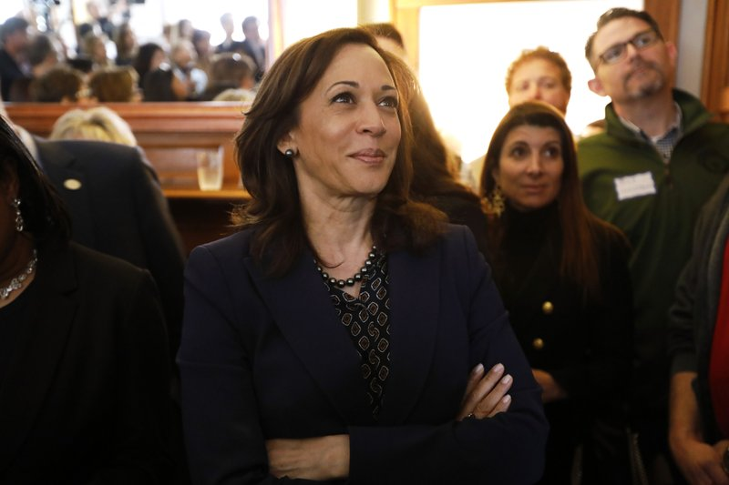 2020 Democratic presidential candidate Sen. Kamala Harris waits to speak at a house party, Thursday, April 11, 2019, in Des Moines, Iowa. (AP Photo/Charlie Neibergall)