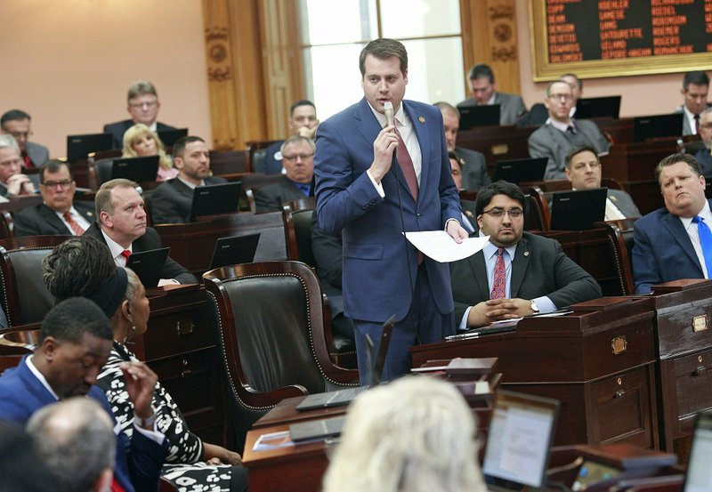 Ohio Rep. Derek Merrin stands while he advocates a yes vote on the Heartbeat Bill at the Ohio Statehouse in Columbus, Ohio on Wednesday, April 10, 2019. (Brooke LaValley/The Columbus Dispatch via AP)