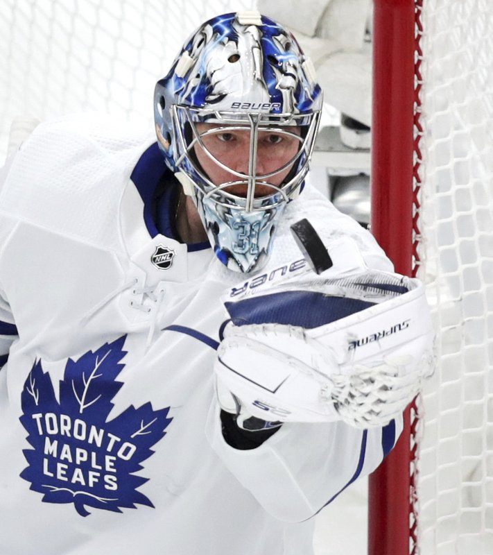 Toronto Maple Leafs goaltender Frederik Andersen makes a save during the first period of Game 1 of an NHL hockey first-round playoff series against the Boston Bruins, Thursday, April 11, 2019 in Boston. (AP Photo/Charles Krupa)