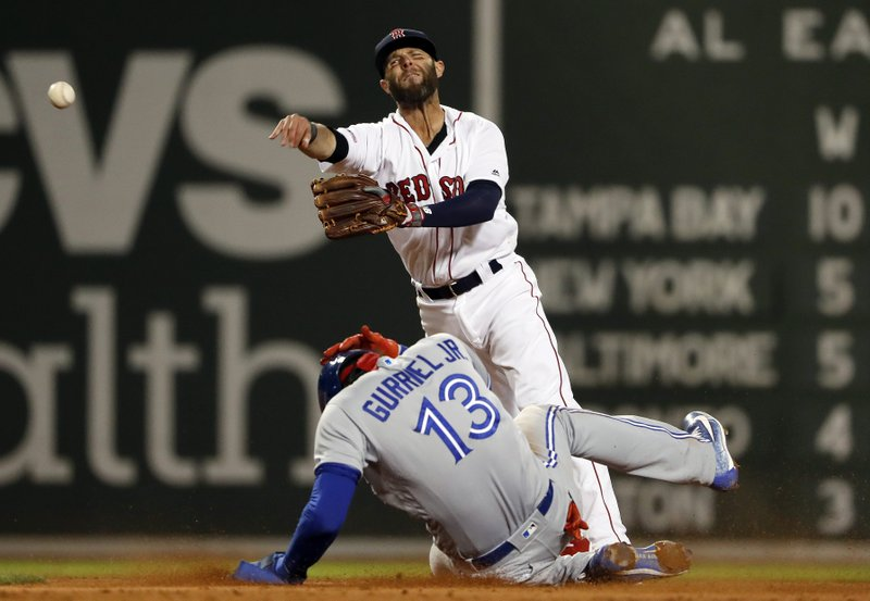 Boston Red Sox second baseman Dustin Pedroia throws to first after forcing out Toronto Blue Jays' Lourdes Gurriel Jr. (AP Photo/Winslow Townson)