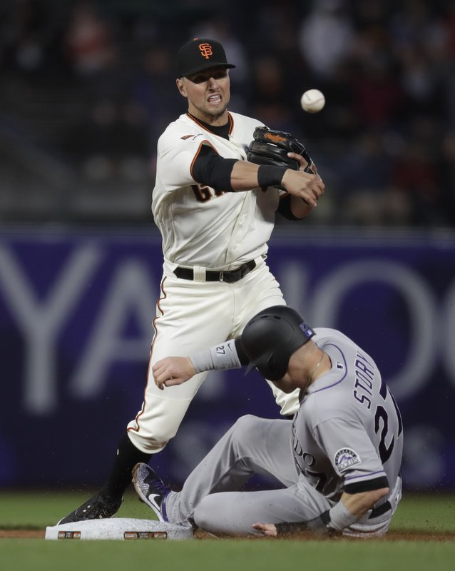 San Francisco Giants' Joe Panik throws over Colorado Rockies' Trevor Story to complete a double play in the fourth inning of a baseball game Thursday, April 11, 2019, in San Francisco. (AP Photo/Ben Margot)