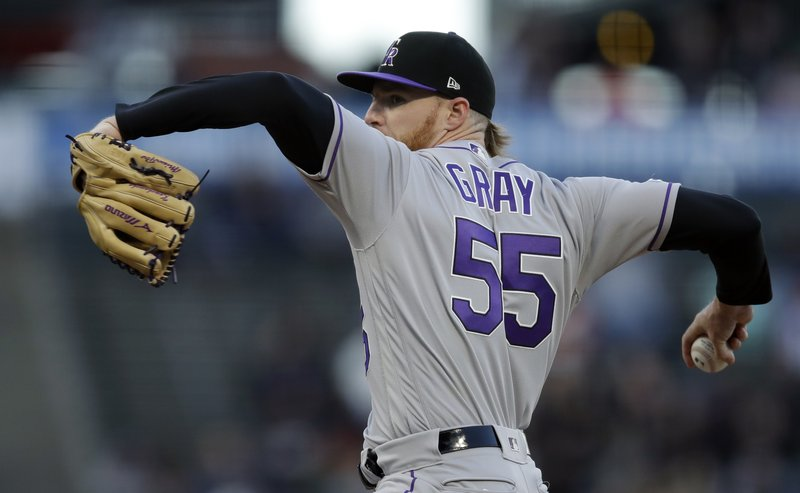 Colorado Rockies pitcher Jon Gray works against the San Francisco Giants during the first inning of a baseball game Thursday, April 11, 2019, in San Francisco. (AP Photo/Ben Margot)