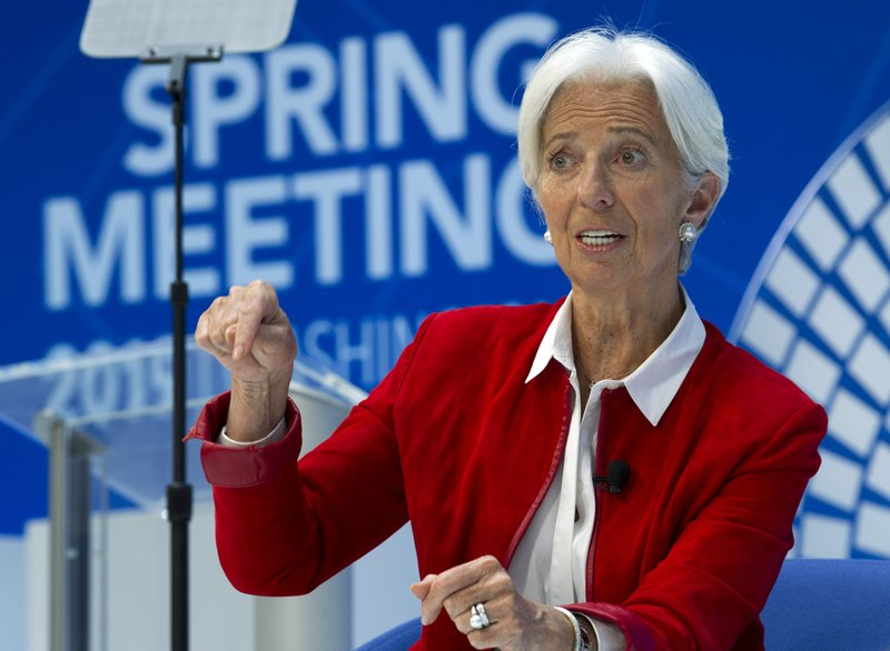 International Monetary Fund (IMF) Managing Director Christine Lagarde speaks during One-on-One talk Balancing Nature and the Global Economy, at the World Bank/IMF Spring Meetings in Washington, Thursday, April 11, 2019. (AP Photo/Jose Luis Magana)