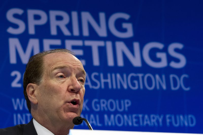 World Bank President David Malpass speaks at a news conference during the World Bank/IMF Spring Meetings in Washington, Thursday, April 11, 2019. (AP Photo/Jose Luis Magana)