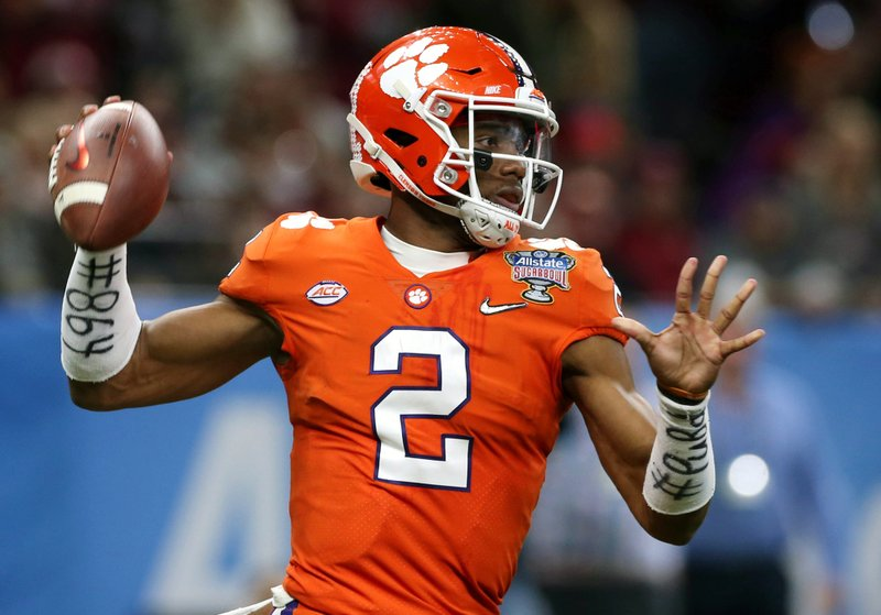 FILE - In this Jan. 1, 2018, file photo, Clemson quarterback Kelly Bryant (2) passes in the first half of the Sugar Bowl NCAA college football bowl game against Alabama, in New Orleans. (AP Photo/Rusty Costanza, File)