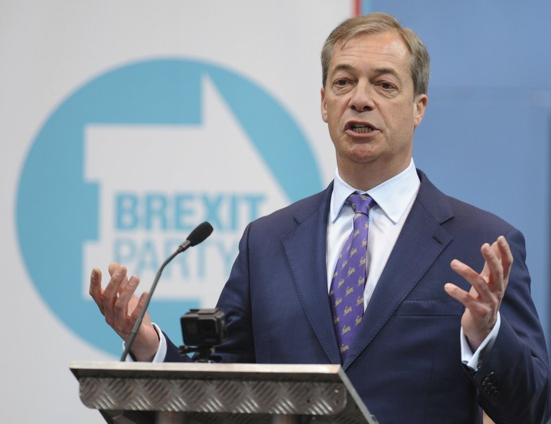 British MEP Nigel Farage speaks during the launch of the Brexit Party's European election campaign, Coventry, England, Friday, April 12, 2019. (AP Photo/Rui Vieira)