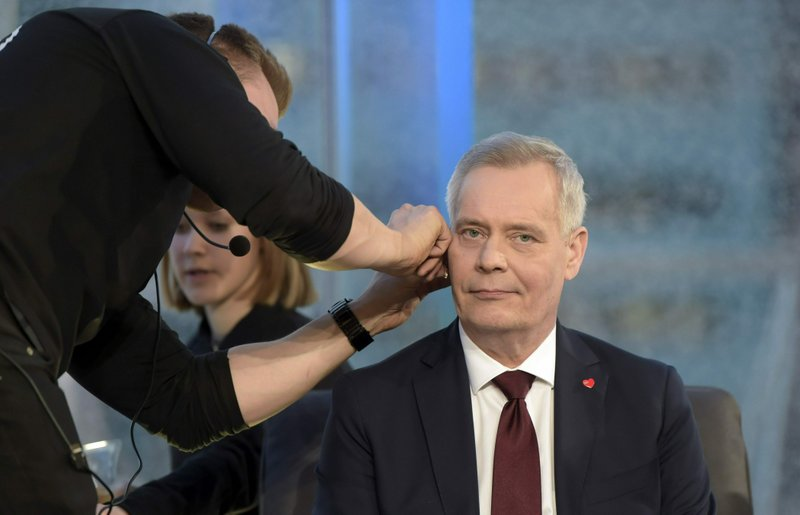 The chairman of The Social Democratic Party Antti Rinne attends parliamentary elections debate arranged by MTV in Helsinki, Finland, on Wednesday, April 10, 2019. (Antti Aimo-Koivisto/Lehtikuva via AP)