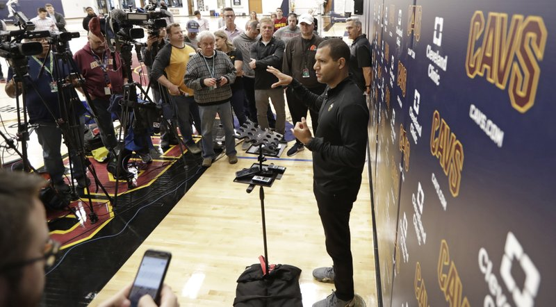 Cleveland Cavaliers general manager Koby Altman speaks to the media at the team's training facility, Friday, April 12, 2019, in Independence, Ohio. (AP Photo/Tony Dejak)