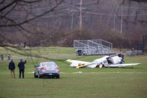 Small plane crashes on baseball field; 2 in aircraft hurt