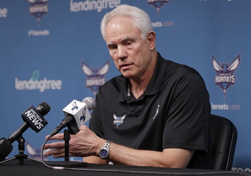 Charlotte Hornets general manager Mitch Kupchak speaks to the media during a news conference for the NBA basketball team in Charlotte, N. (AP Photo/Chuck Burton)