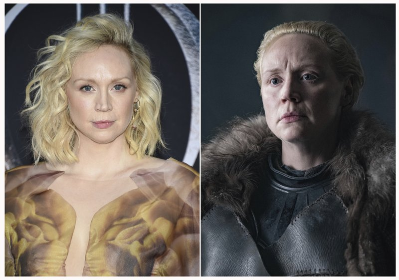 This combination photo shows Gwendoline Christie at HBO's