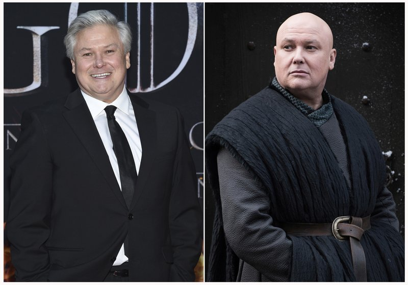 This combination photo shows Conleth Hill at HBO's