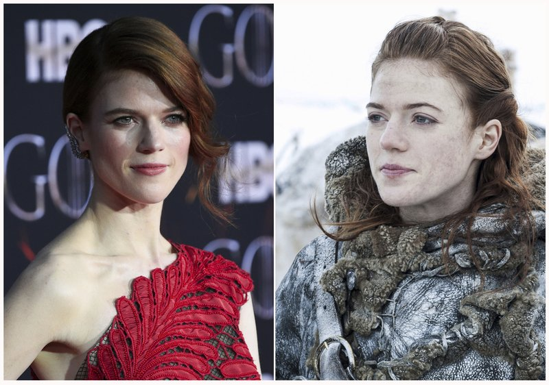 This combination photo shows Rose Leslie at HBO's