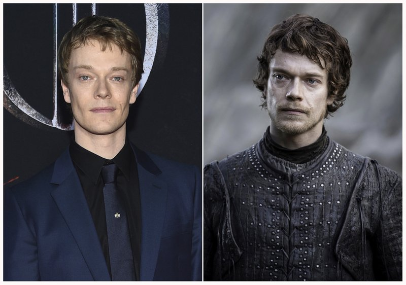This combination photo shows Alfie Allen at HBO's