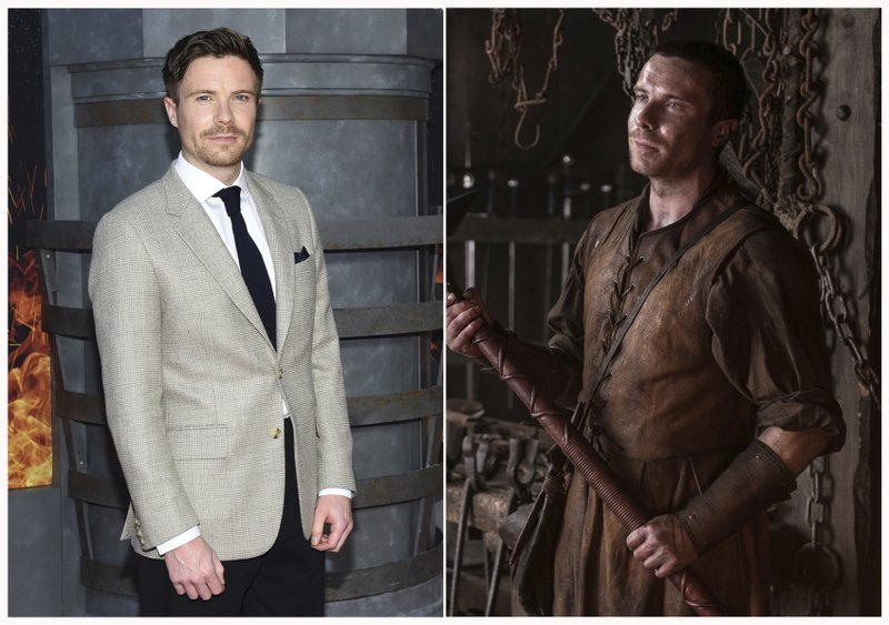 This combination photo shows Joe Dempsie at HBO's