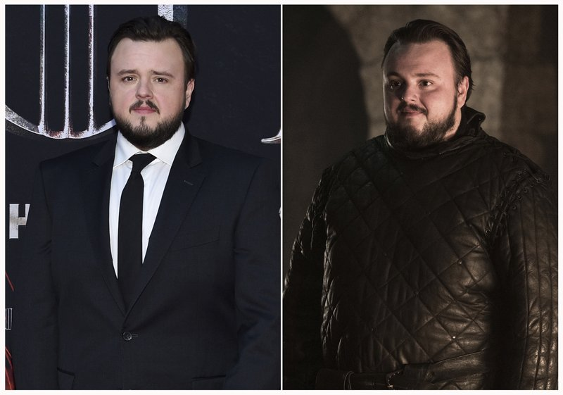 This combination photo shows John Bradley at HBO's