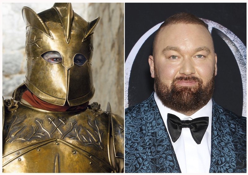 This combination photo shows Hafthor Björnsson at HBO's