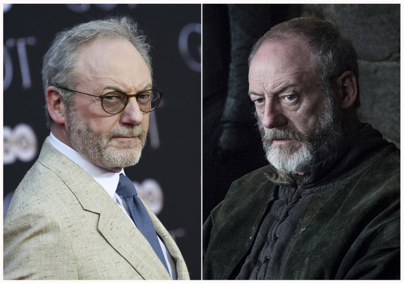 This combination photo shows Liam Cunningham at HBO's