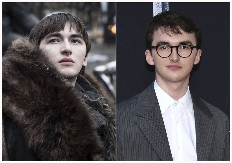 This combination photo shows Isaac Hempstead Wright at HBO's