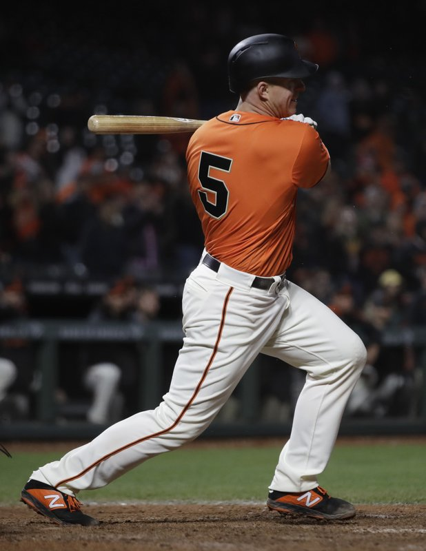 Colorado Rockies' =a San Francisco Giants' =h in the 16th inning of a baseball game Saturday, April 13, 2019, in San Francisco. (AP Photo/Ben Margot)