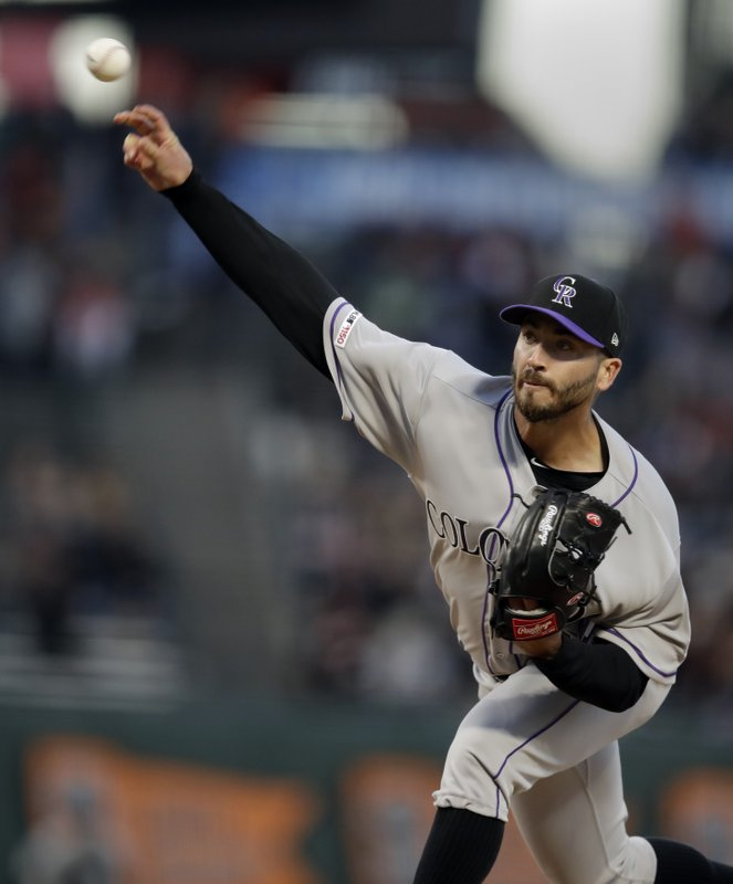 Colorado Rockies pitcher Chad Bettis works against the San Francisco Giants during the first inning of a baseball game Friday, April 12, 2019, in San Francisco. (AP Photo/Ben Margot)