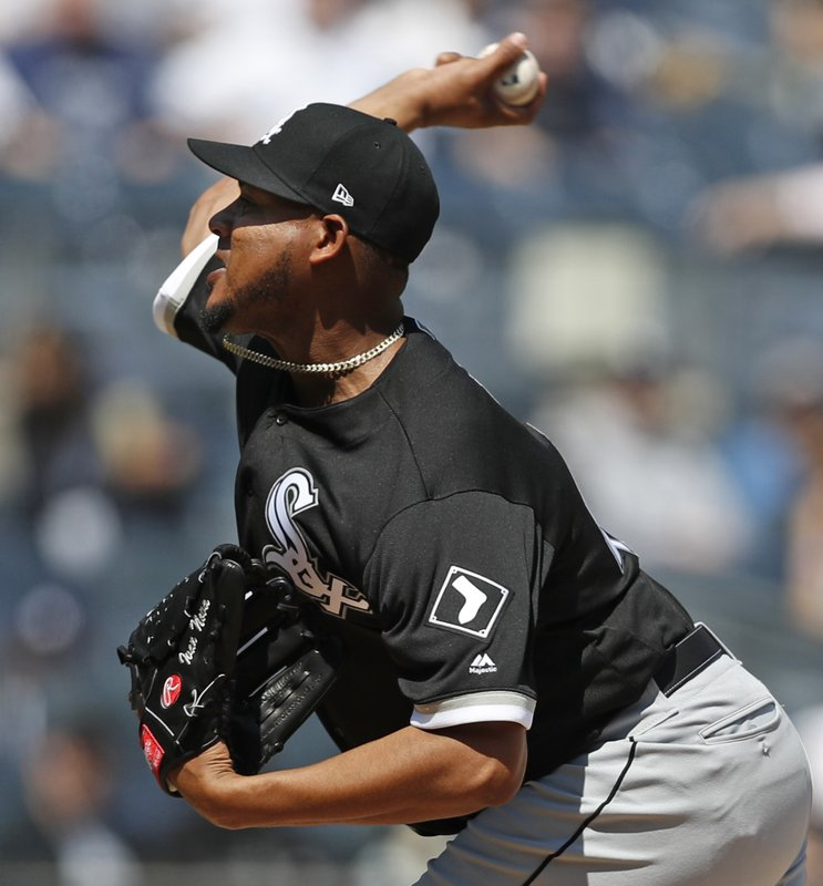 Chicago White Sox starting pitcher Ivan Nova throws during the first inning of a baseball game against the New York Yankees, Saturday, April 13, 2019, in New York. (AP Photo/Kathy Willens)