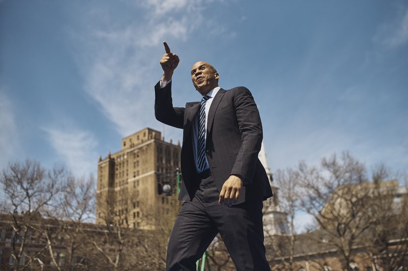 Cory Booker salutes the crowd during a hometown kickoff for his national presidential campaign tour at Military Park in downtown Newark, N. (AP Photo/Andres Kudacki)