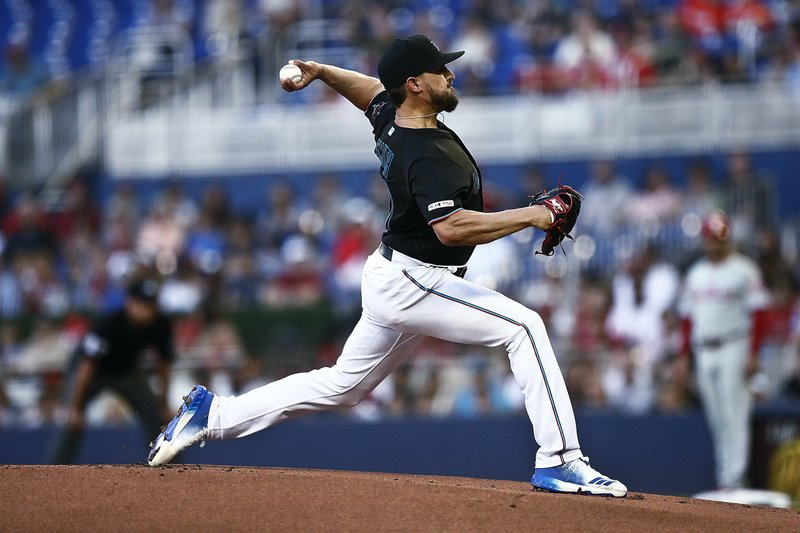 Miami Marlins starting pitcher Caleb Smith delivers during the first inning of the team's baseball game against the Philadelphia Phillies on Saturday, April 13, 2019, in Miami. (AP Photo/Brynn Anderson)